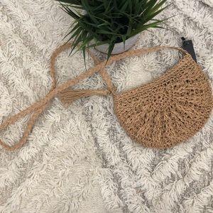 Handbags - NWT Tan Straw bag Crossbody Purse